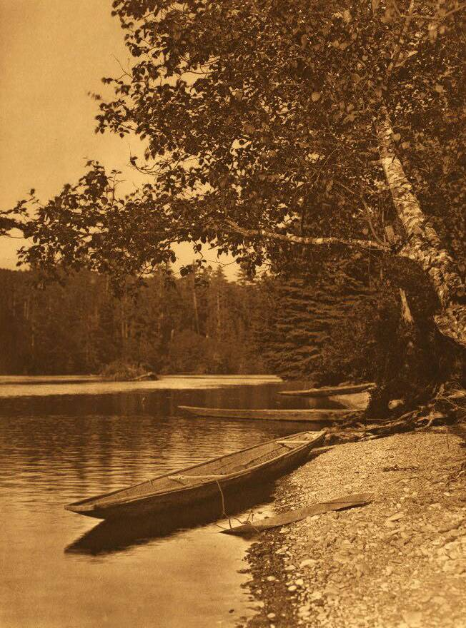 American Indian canoe photograph : On Quinault River.