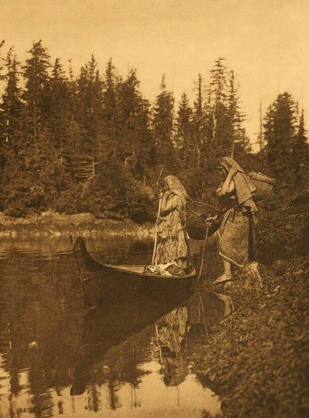 American Indian canoe photograph : Quiet Waters.
