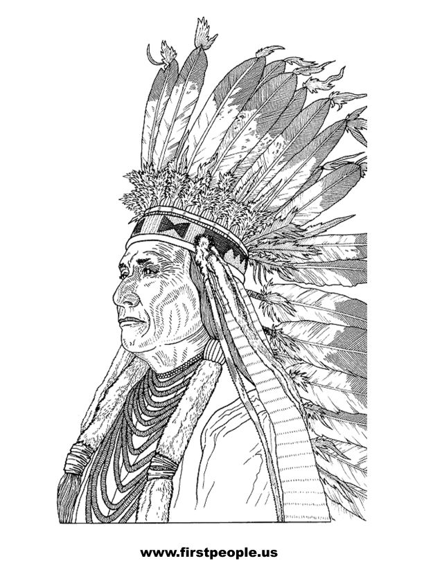 Indian Coloring Pages Native American. Other clipart images of Native Americans from page 1 American to color in  Chief Joseph