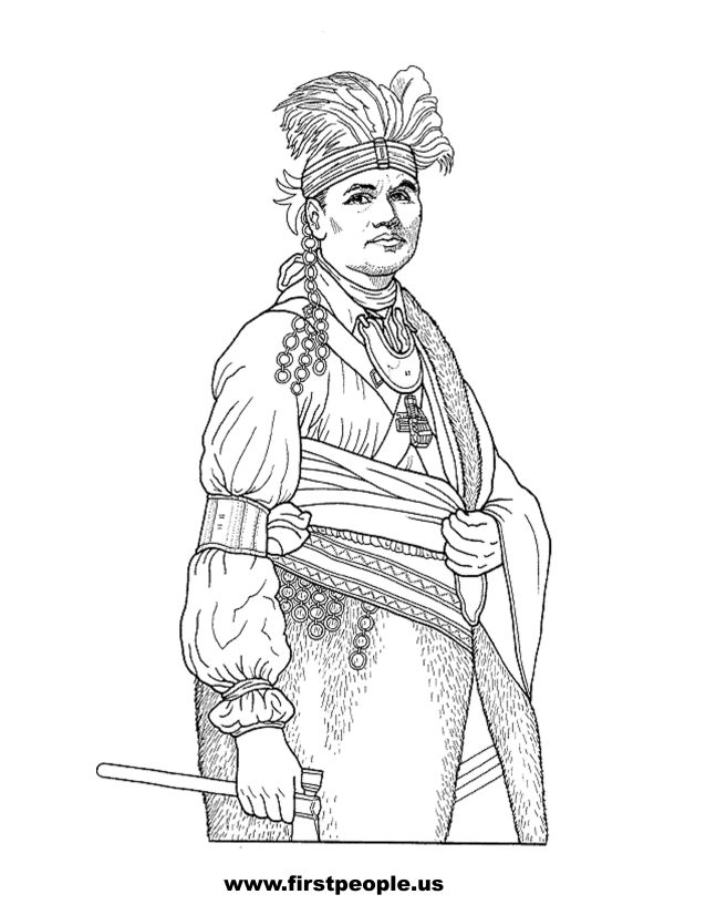 Native American clipart to color in Joseph Brant