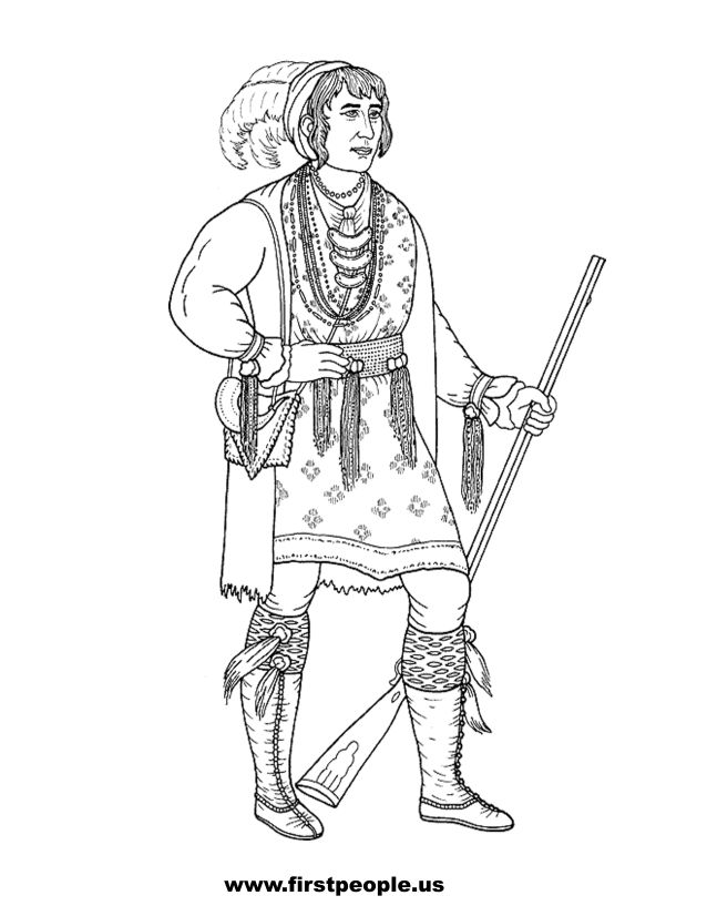 Osceola, Seminole - Clipart to color in.