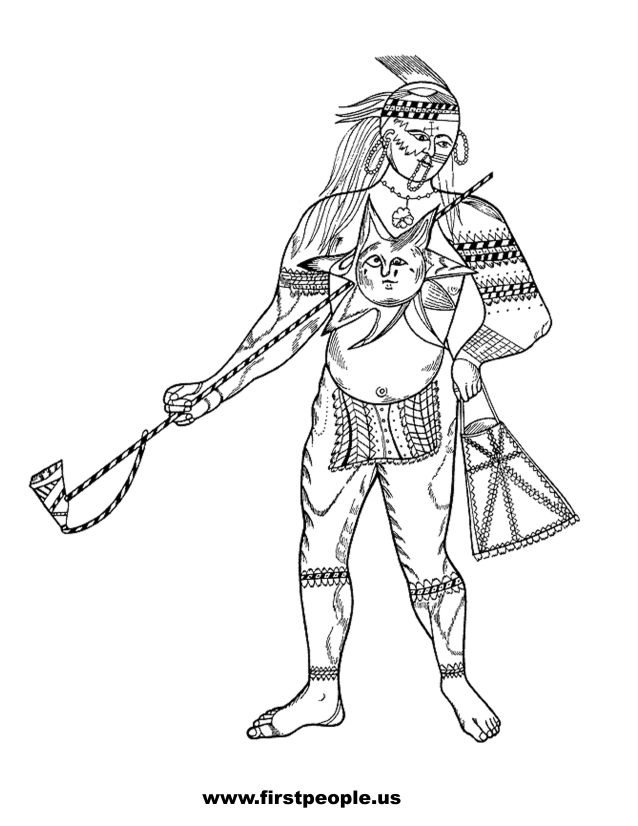 Native American clipart to color in - Pontiac