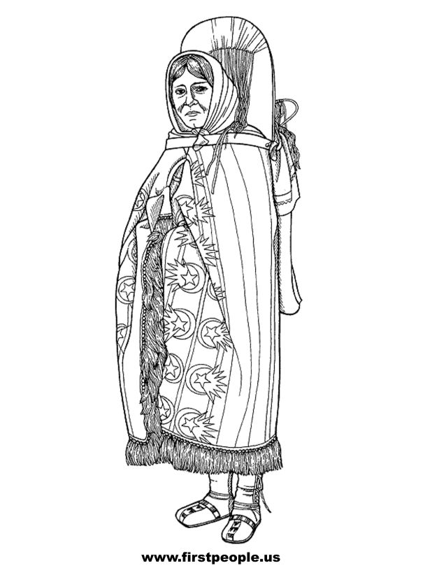 Sacagawea - Clipart to color in.