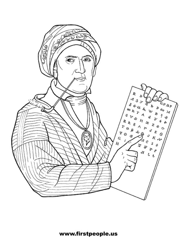 Native American Clipart To Color In Sequoya