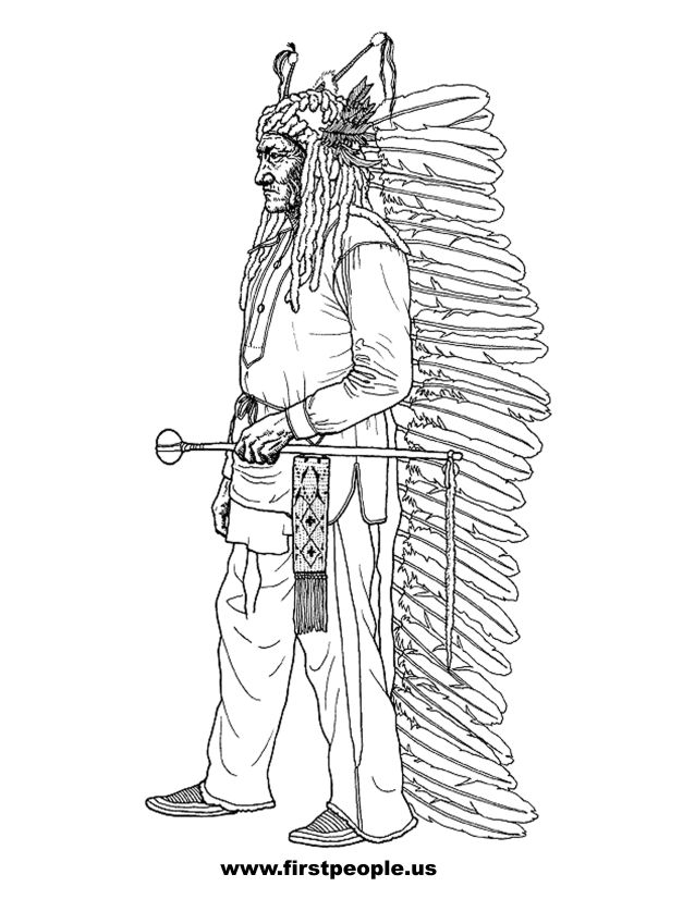 Sitting Bull - Clipart to color in.