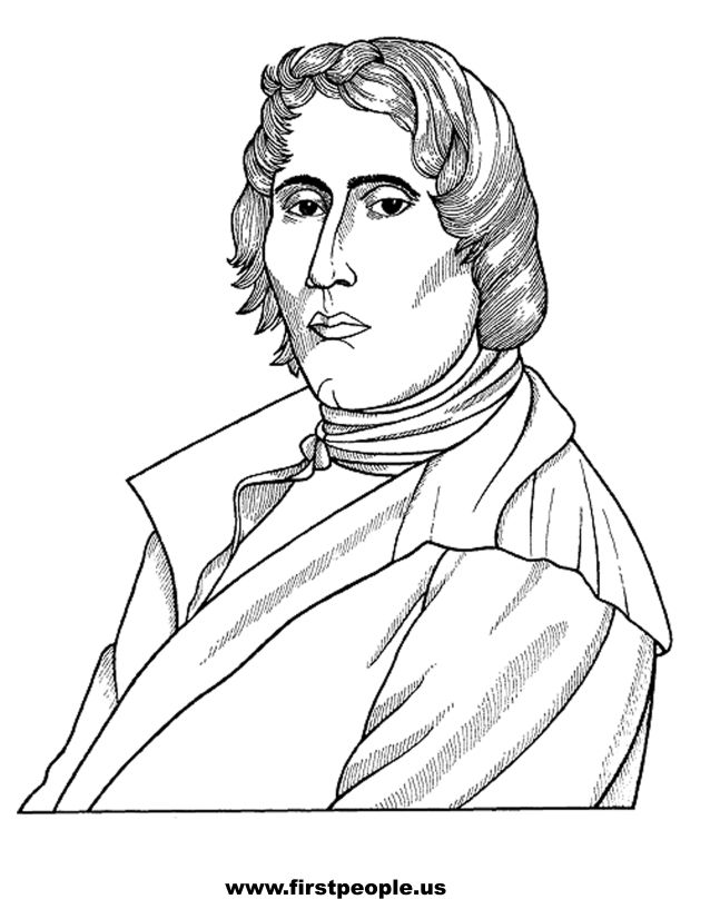 Native American clipart to color in - Tecumseh