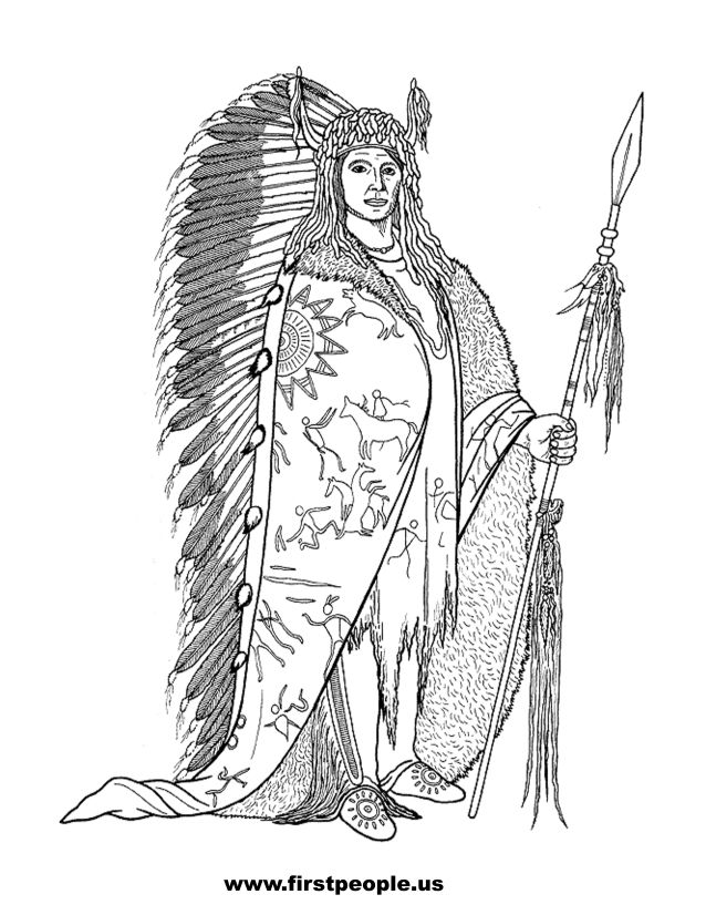 Native American clipart to color in - The Black Rock