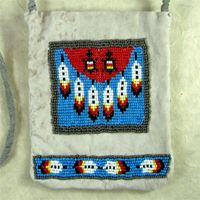Feathers and Turtles Beaded Leather Possible Bag.