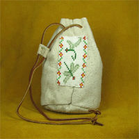 Leather Pouch with Green Dragonfly Bead Work.