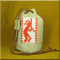 Leather Pouch with Orange Kokopelli Bead Work.