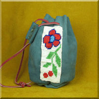 Leather Pouch with Red Woodland Flower Bead Work.