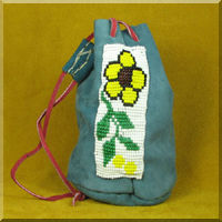Leather Pouch with Yellow Woodland Flower Bead Work.