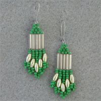 Green, Silver, and Yellow Beaded Earrings.