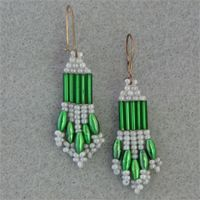 Gray and Green Beaded Earrings.