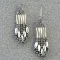 American Indian made Gray, Silver, and White Beaded Earrings.