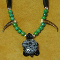 Turtle Claws and Snowflake Obsidian Gemstone Turtle Necklace.