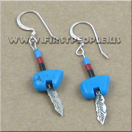 American Indian Made Turquoise Bear With Sterling Silver Feather Earrings