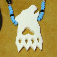 Bone Wolf Head Cutout and Glass Beads Necklace.