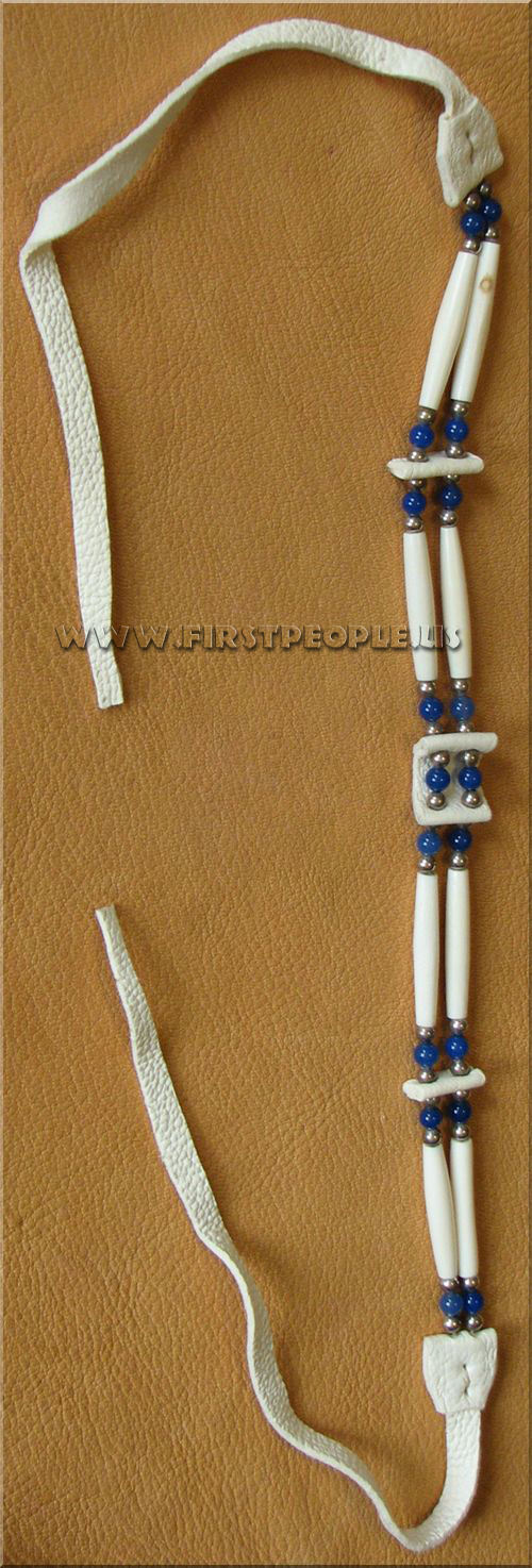 American Indian made Two Strand Blue Onyx Hairpipe Choker.