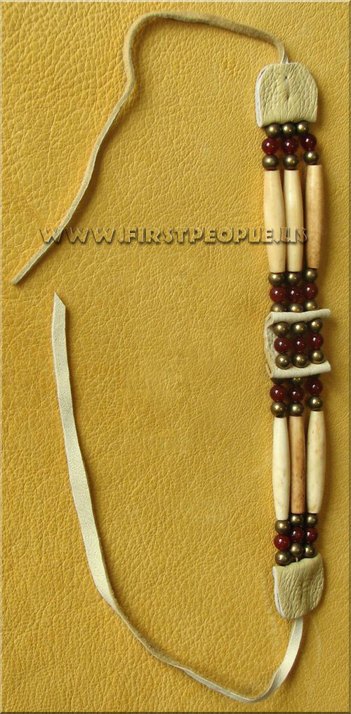 American Indian Made Three Strand Carnelian Choker.