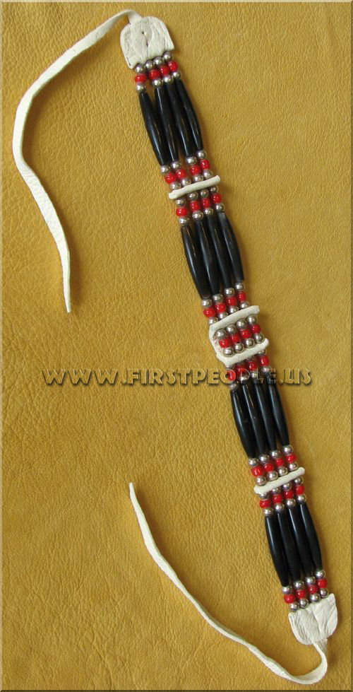 American Indian made Four Strand Red White Heart Bead Hairpipe Choker.
