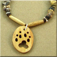 Antiqued Bone Wolf Track Cutout Necklace with Gemstone Chips.