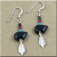 Onyx Bear with Sterling Silver Feather Earrings.
