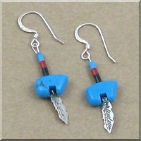 American Indian made Turquoise Bear with Sterling Silver Feather Earrings.