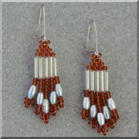 Root Beer Silver and Light Blue Earrings.