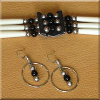 Triple Strand Black Onyx Choker with matching Earrings.