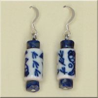 Blue and White Round Tube Glass Bead Earrings.