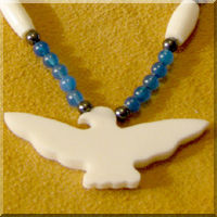 Bone Carving Women Eagle Native American Jewelry Angel Necklace Center Piece Bead Embroidery Detailed Carving B286