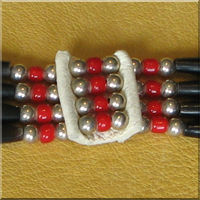 Four Strand Red White Heart Bead Hairpipe Choker.
