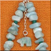 Amazonite Fetish Bear Anklet.