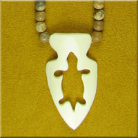 Carved Bone Turtle Arrowhead and Jasper Necklace.