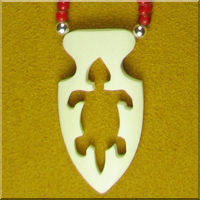 Carved Bone Turtle Arrowhead Necklace.