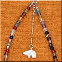 Multi-Colored Anklet with Bear Fetish.