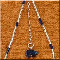 Sterling Silver and Blue Heishe Ankle Bracelet with Blue Lapis Bear Fetish.
