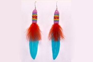 Orange and Turquoise Blue Feather Earrings.