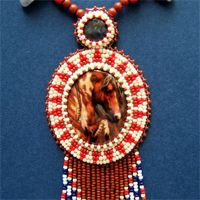 Beaded War Horse Necklace and Earrings.