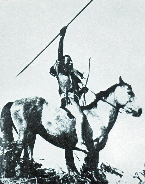 An old photograph of a Cayuse Brave.