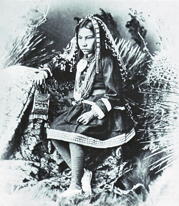 An old photograph of a Chiricahua Apache Girl [Grand-Daughter of Cochise] 1886.
