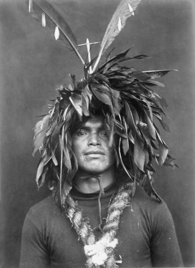 An old photograph of a Cowichan Warriors Feather Head Dress 1913.