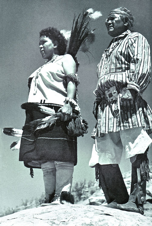 An old photograph of a Jemez Pueblo Elder with Daughter.