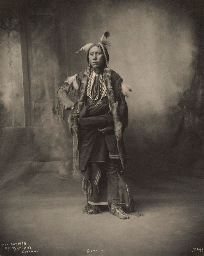 An old photograph of a Kiowa Man 1898.