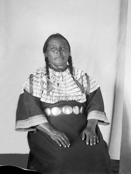 An old photograph of a Miniconjou Woman 1913.