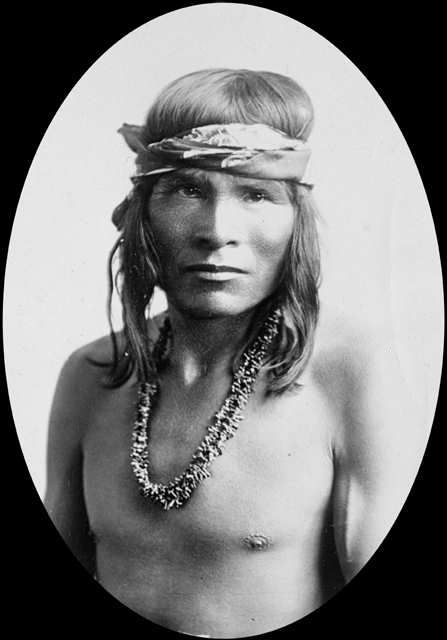 An old photograph of a Navajo Indian [L].