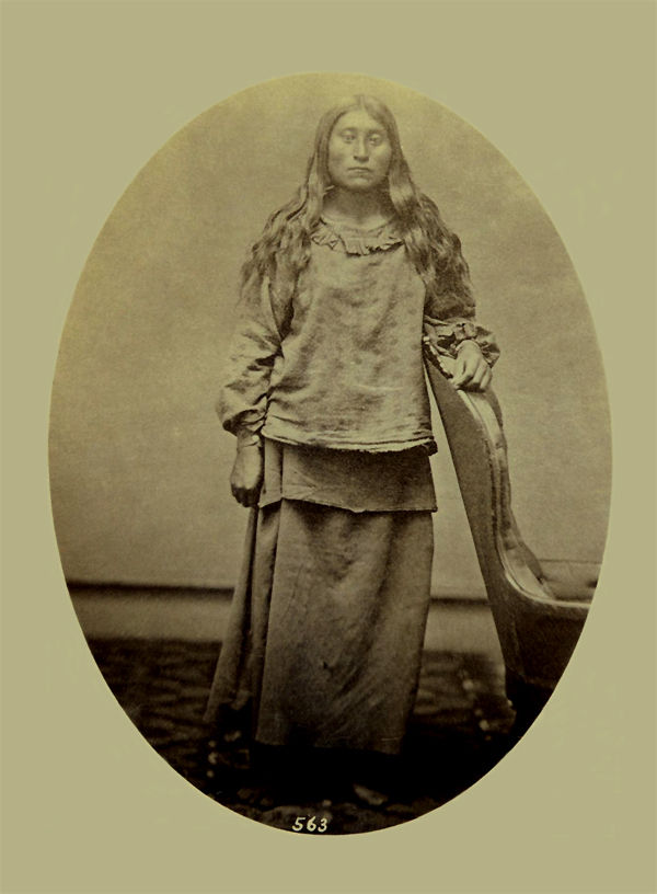 An old photograph of a Pawnee Squaw 1868.