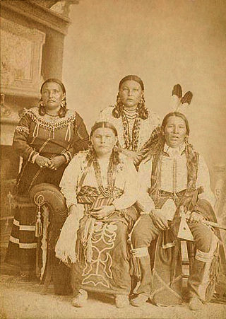 An old photograph of a Ponca Family 1885.