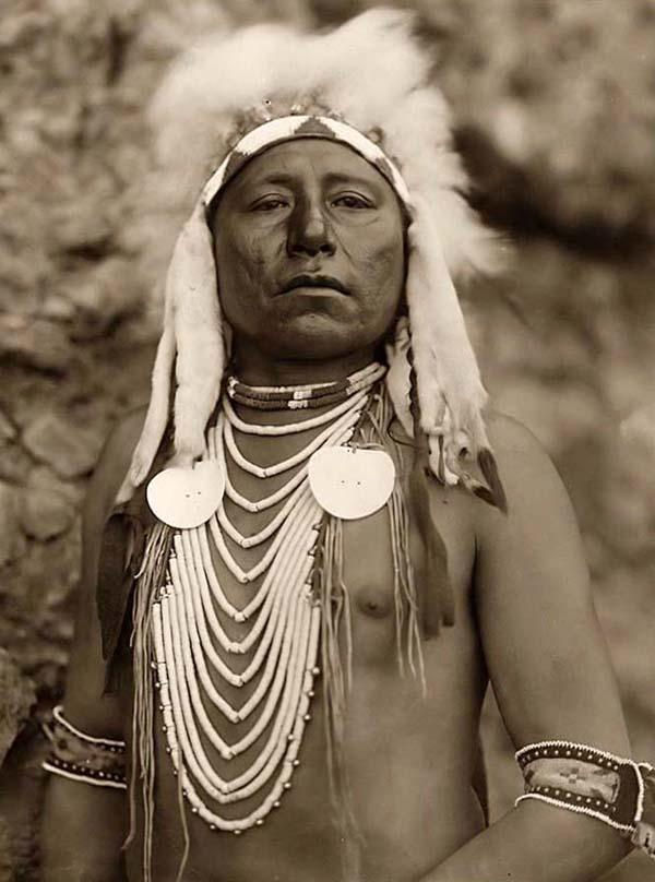 An old photograph of a Proud Native American.